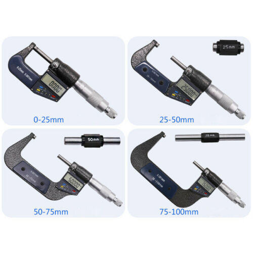 """0-1/""""0.00005/"""" Digital Electronic Outside Micrometer Carbide 0-25mm LCD Display US"""