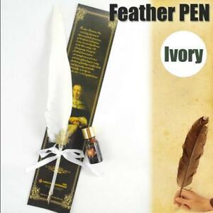 White-Antique-Big-Size-Dip-Pen-Goose-Quill-Feather-and-Ink-bottle-Quill-AU