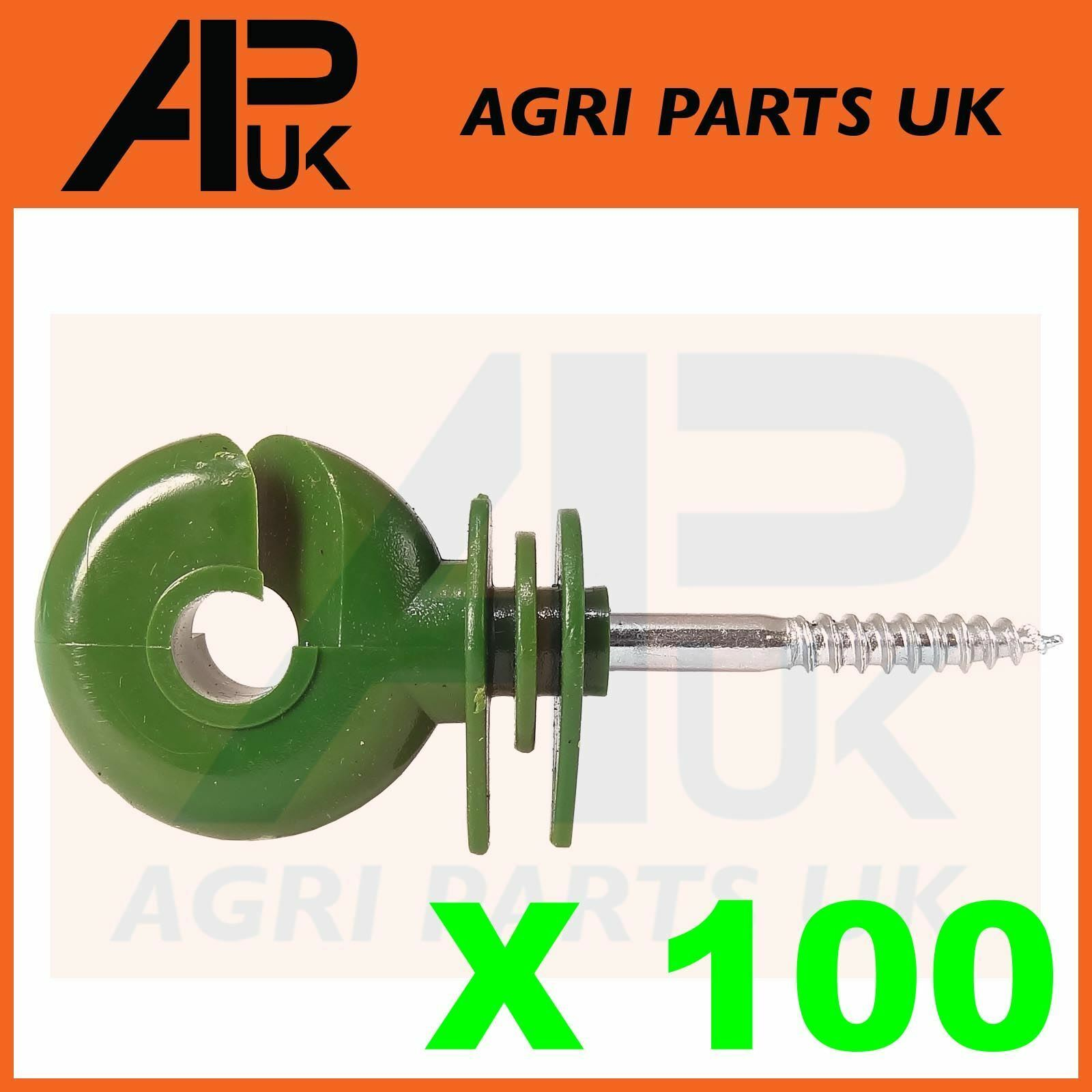 100 x Green Screw Ring Insulators Electric Fence Post Wire Rope Fencing Polywire