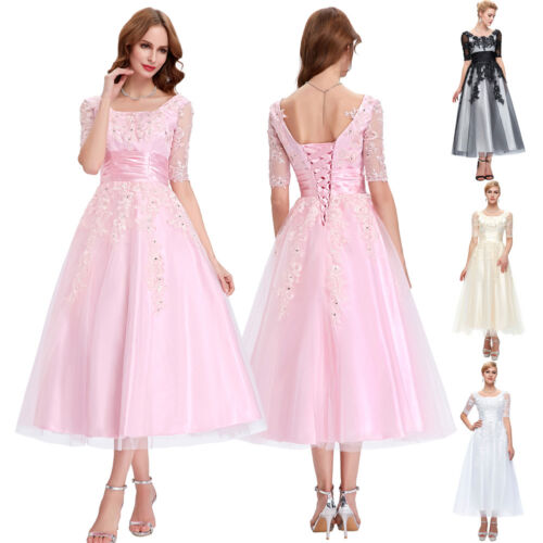 Vintage 50er JahrElegant Applique Abendkleid Hochzeitskleid cocktailkleid Party
