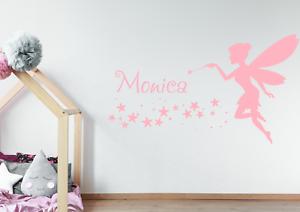 Personnalisé Nom /& Fée Autocollant Mural pour jeunes filles chambre magique Wall Art AG07