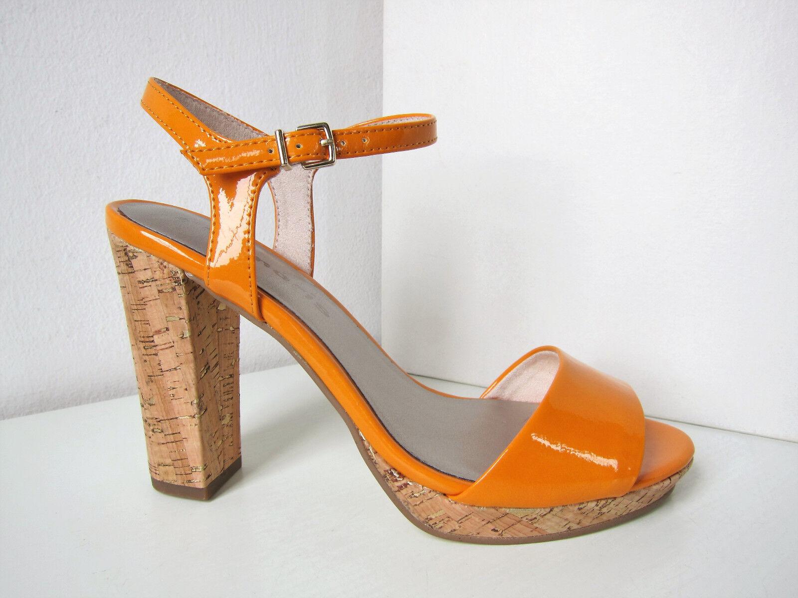 Tamaris Lack Riemchen Pumps orange Gr. 36 Sandale Pumps Sandalette Patent Myggia