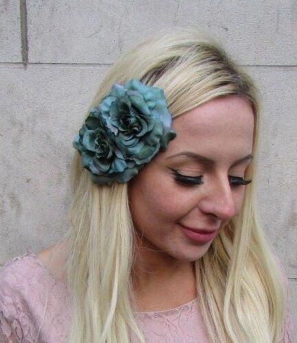 Sarcelle Bouteille Vert Foncé double fleur rose pince à cheveux bibi 1950 S courses 6452