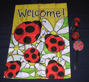 Ladybug-39x28-Welcome-Flag-Banner-Tervis-thermo-cup-Spatula-planter-4-pc-lot