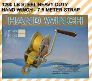 1200-LB-Strap-Ribbon-Hand-Winch-Boat-Trailer-Towing-Truck-Steel-Heavy-Duty