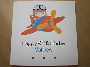 Handmade Th Birthday Cards Son ~ Personalised handmade boys aeroplane birthday card son grandson