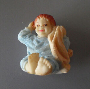 """Resin Artisan Flair Little Boy with Blanket Dollhouse Figurine 2"""""""