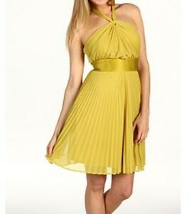 07079a73bc50 Details about Max & Cleo Halter Chloe Dress New SZ 6 Yellow Empire Waist  Pleated Party Prom