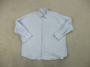 Peter Millar Button Up Shirt Adult Large 18 1/2 White Blue Long Sleeve Mens A52