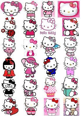 24 Mixed Hello Kitty Groß Klebend Weißes Papier Aufkleber Etiketten Neu