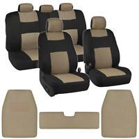 Auto Interior Protection Car Seat Covers Carpet Floor Mats Black + Beige Cloth