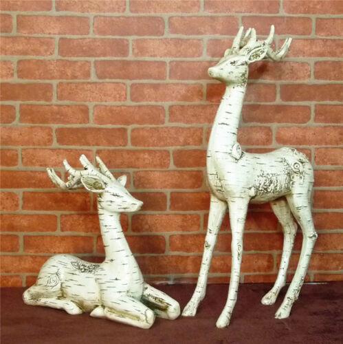 Resin White Tree bark style Deer pair home garden shop Decor