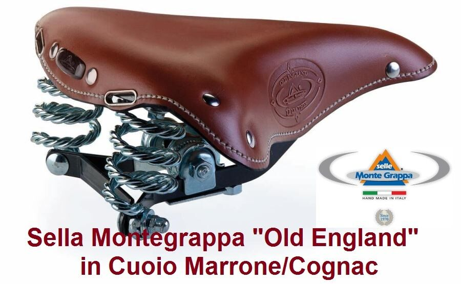 Sella Montegrappa Old England in Cuoio Marroneee per Bici 20242628 Trekking