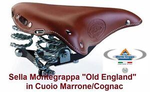 Dettagli Su Sella Montegrappa Old England In Cuoio Marrone Per Bici 20 24 26 Tipo Olanda