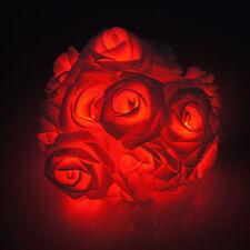 Rot Rose LED Lichterketten mit 20er LEDS-2M Weihnachten Ketten F.Batterien Light