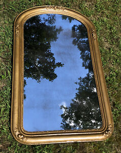 Antique-Victorian-Gilt-Wood-Arch-Wall-Mirror-Gilded-Gesso-41x25