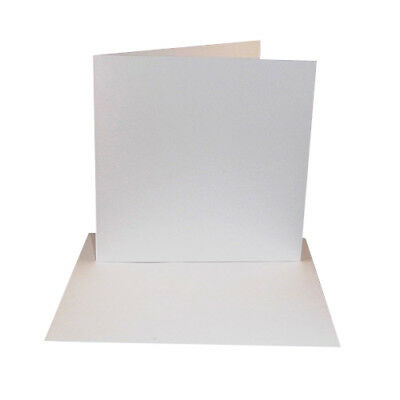 """8/"""" x 8/"""" Bi Fold Card Blanks /& Envelopes 5 Pack 300gsm White Card"""
