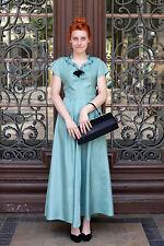 Damen Kleid dress blau blue 80er True VINTAGE 80´s women lang long Abendmode