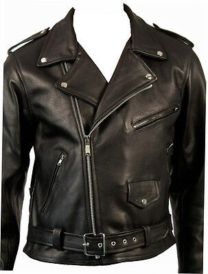 Mens Classic Brando Motorcycle Motorbike Biker Leather Jacket Black All Size NEW