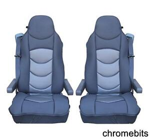 2-PCS-GREY-COMFORT-PADDED-SEAT-COVERS-CUSHIONED-FOR-DAF-CF-LF-XF105-XF-105-95