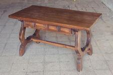 Tavolo fratino legno noce 2 cassetti gambe a lira stile spagnolo epoca 1950 / 60
