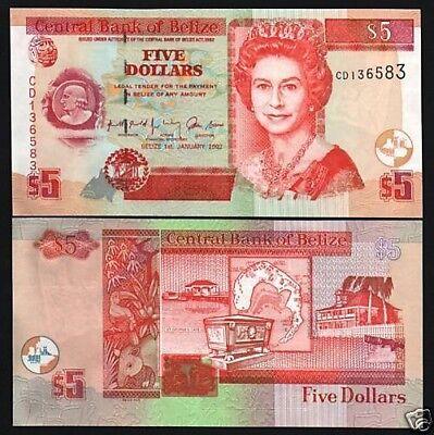 Belize 5 Dollars P 67c 2007 UNC Queen Elizabeth II Low Shipping Combine FREE 67