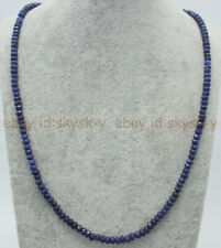 Genuine Top Natural 2x4mm Blue Sapphire Faceted Gems Beads Necklace 18'' AAA