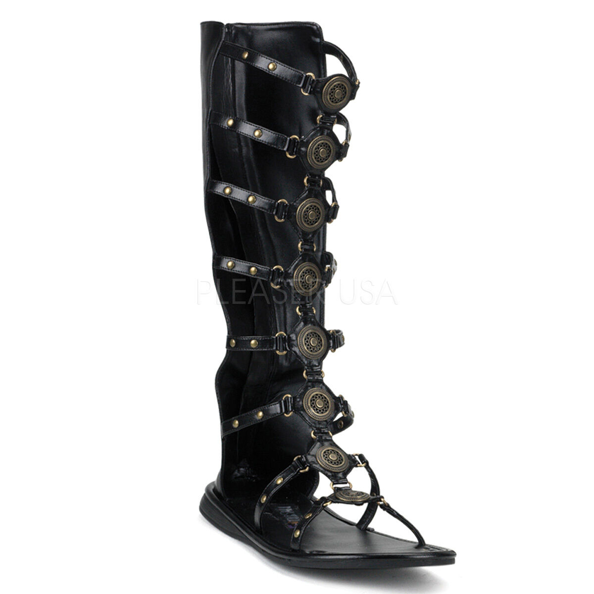 Black Roman Soldier Hercules Gladiator Lace Up Sandals Boots Costume shoes Mens