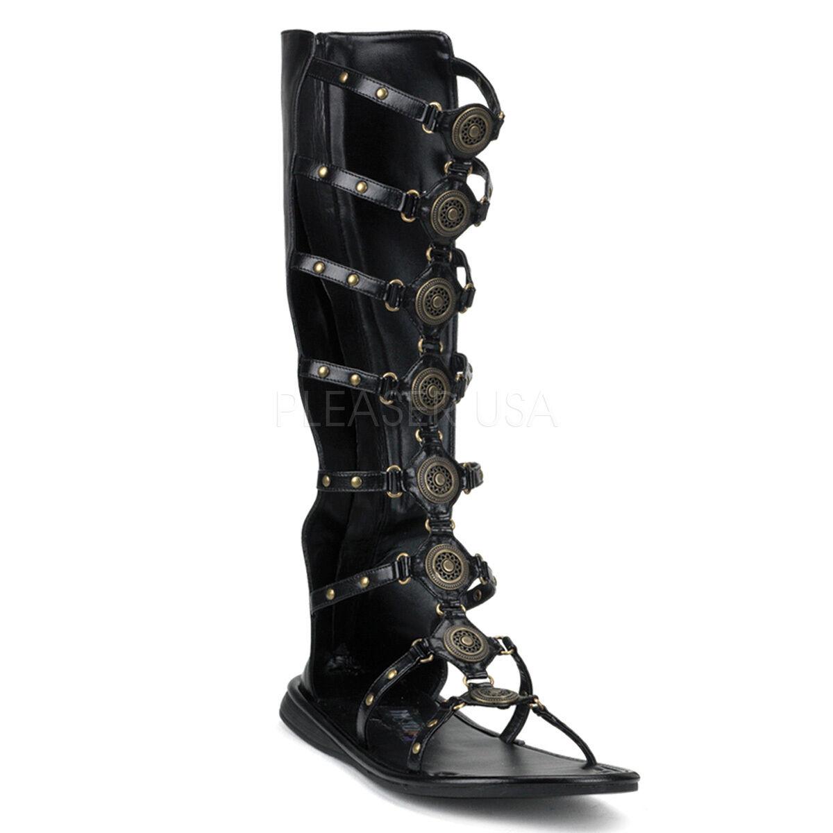 e4cd2168461 Black Roman Soldier Hercules Gladiator Sandals Boots Costume shoes Mens Up  Lace cadrcf1829-Men s Sandals   Beach Shoes