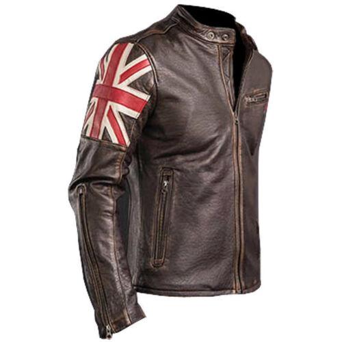 Leather Fashion Flag Uk Biker Men's Jacket Classic Brown Cafe New Racer Vintage v6q4Bn
