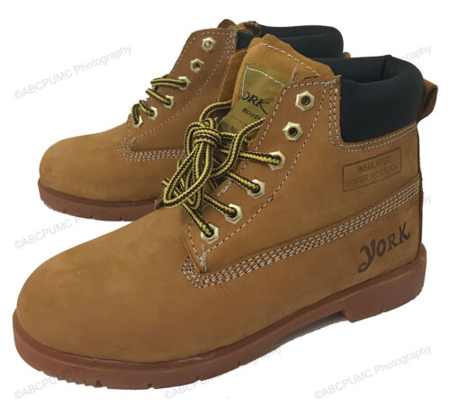 Boys Boots Nubuck Leather Hiking Waterproof Work Childrens Youth Shoes Size:11-5