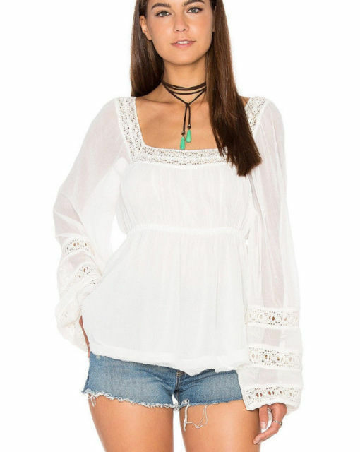 Free People Woherren Weiß Moon Chaser Long Sleeve Lace Peasant Top Small