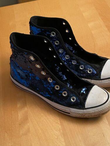 Converse All Star High Top Dark Blue Sequin Fashio