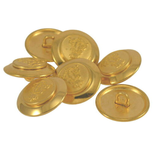 METAL GOLD MILITARY ROYAL CROWN COAT OF ARMS CREST SHANK BUTTONS 20mm /& 23mm