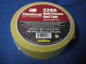 NEW-NASHUA-2280-MULTI-PURPOSE-DUCT-TAPE-YELLOW-1-89-034-x-60-1yd-X-9-MIL-USA-MADE