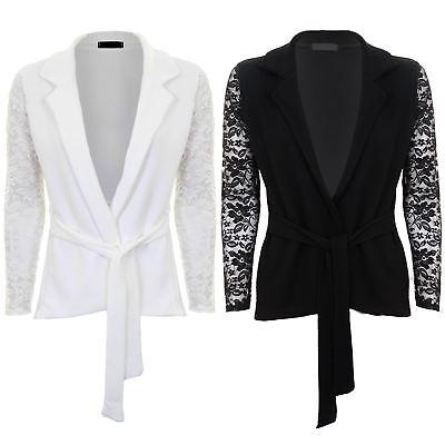 Effizient Womens Floral Lace Sleeve Tie Waist Open Front Textured Smart Crinkle Blazer Strukturelle Behinderungen