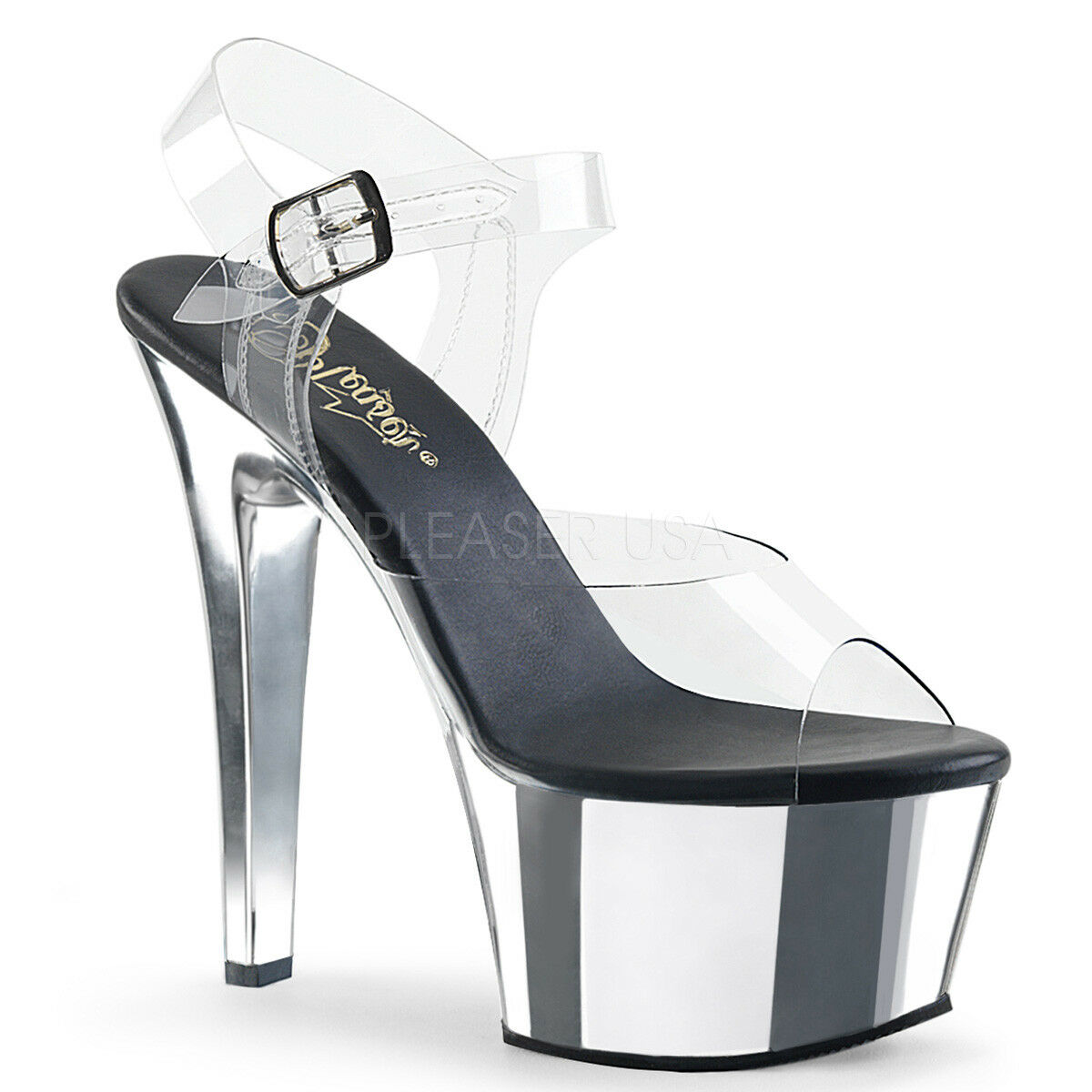PLEASER Sexy 6  Heel Comfortable Chrome Platform Stripper Ankle Ankle Ankle Strap schuhe f477eb