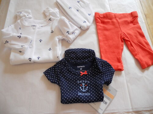 CARTER/'S 4 PIECE BABY OUTFIT GIRLS ANCHORS NWT RED WHITE BLUE HAPPY SAILING