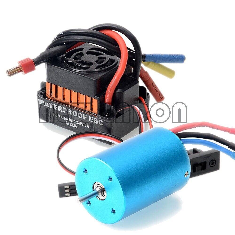 Brushless Esc 60a 37017 (03307) Motor 3300kv 03302 107051 Lipo Rc Para Hsp 1 10