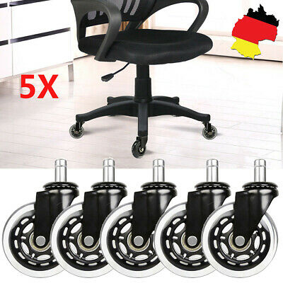 5X Hartbodenrollen Stuhlrollen Bürostuhlrollen Ø 75mm Rollen Stift Ø11mm X 22mm