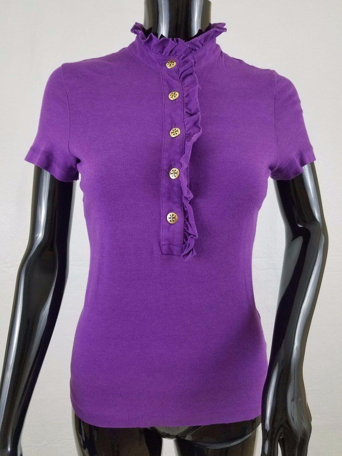 Tory Burch Blouse Top Size Extra Small Purple Pima Cotton Blend Half Button