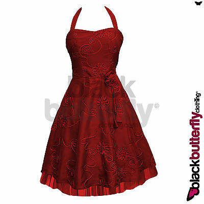 NEW SATIN BRIDESMAID FLORAL 50s 60s ROCKABILLY VTG SWING PROM DRESS SIZE 8-24