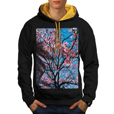 Wellcoda Tree Blossom Photo Mens Contrast Hoodie, Pink Casual Jumper Gute Begleiter FüR Kinder Sowie Erwachsene