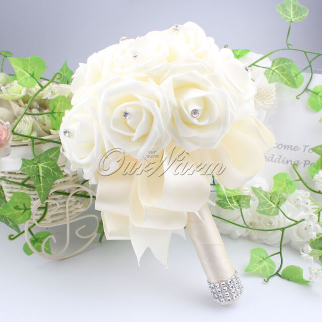 2015 Wedding Bouquet Bridal Bridesmaid Aartificial Flower Roses Posy Hand Made