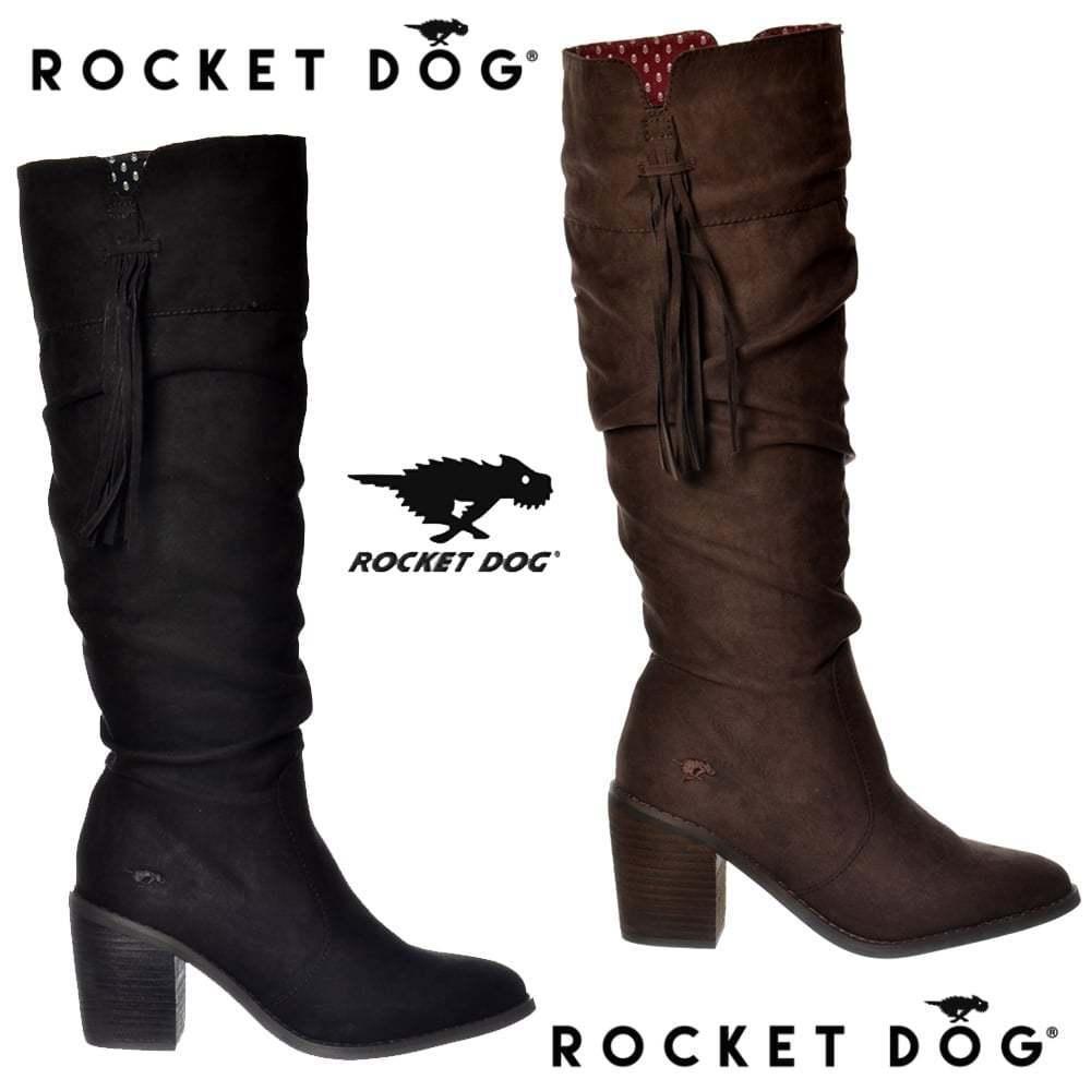 mujer chica Rocket Dog día por la rodilla con tacón Botas borlas negro tribal