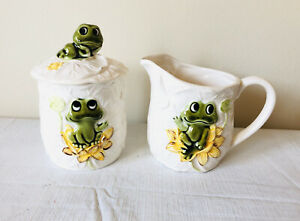 SEARS-Roebuck-1970s-NEIL-THE-FROG-CREAMER-small-pitcher-SUGAR-Bowl-w-LID-VTG