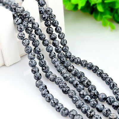 Stylish Natural Snowflake Round Gemstone Loose Spacer Beads Stone DIY 4-12mm
