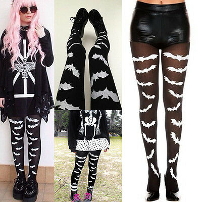 Goth Black White Flying Bats Print Tights Pantyhose Witch Costume Gothic Lolita