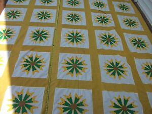 Vtg 1970s FLOWER POWER Applique Floral Quilt Top King Size Yellow Calico Golden