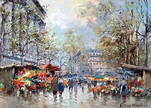 Flower-Market-Paris-Painting-by-Antoine-Blanchard-Art-Reproduction